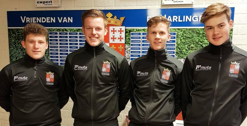 De jeugdtrainers bij fc Harlingen v.l.n.r. Jesse Mulder, Remko Zandberg, Jelmer Kooistra en Arjan Outhuijse. (Foto: fc Harlingen)