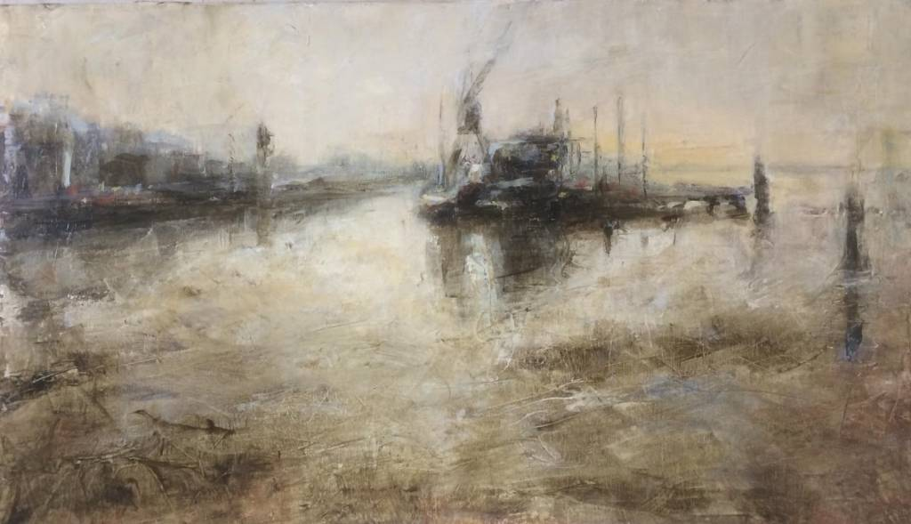 Liesbeth Meerding, Aankomst Harlingen, olieverf op doek, h. 49 cm x br. 70 cm.
