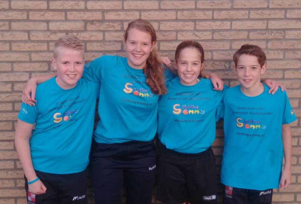Team Twan: vlnr Wesley, Gwen, Anouk en Gijs.